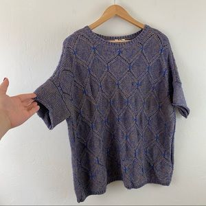 Anthropologie Moth Blue Tan Cable Knit Sweater Top